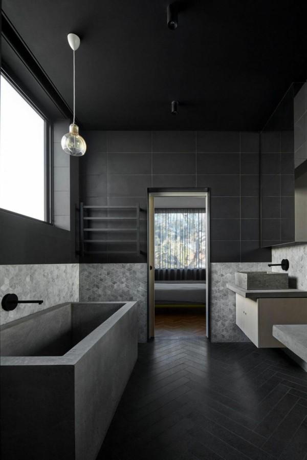 badezimmer schwarz minimalistische badewanne schönes wanddesign
