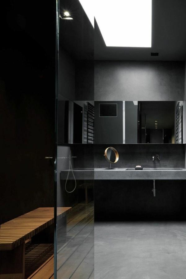 badezimmer schwarz moderner look hellgrauer bodenbelag