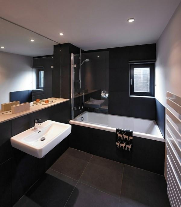 badezimmer schwarz schwarze badewanne graue bodenfliesen