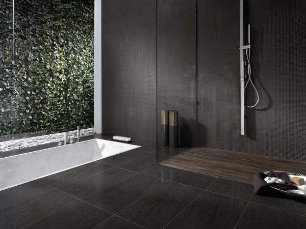 badezimmer schwarz schwarze bodenfliesen ausgefallene badewanne