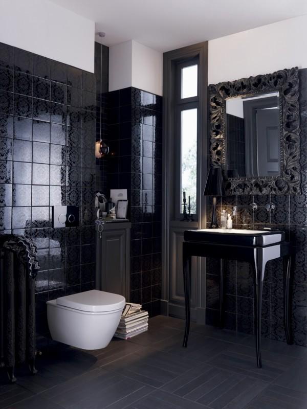badezimmer schwarz stilvolles wanddesign luxuriöses baddesign