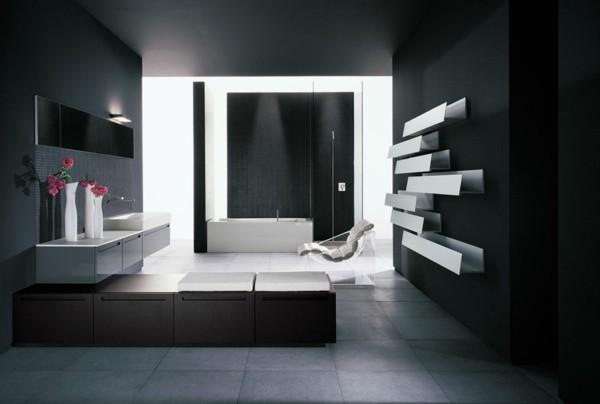 badezimmer schwarz wände schwarz streichen hellgraue bodenfliesen stauraum ideen