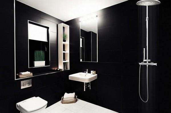 badezimmer schwarz weiß farbkontraste schaffen