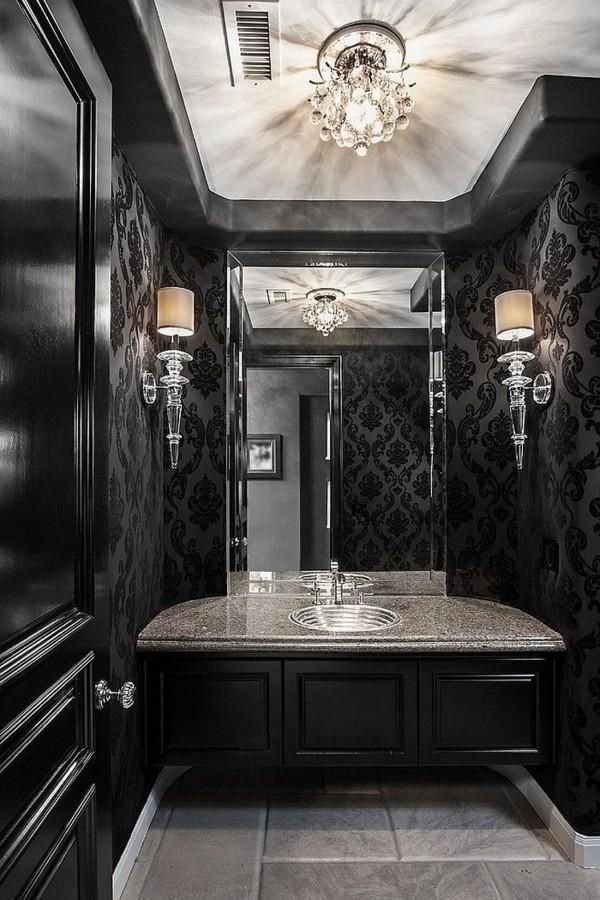 badezimmer schwarz wunderschöne wandtapete helle bodenfliesen