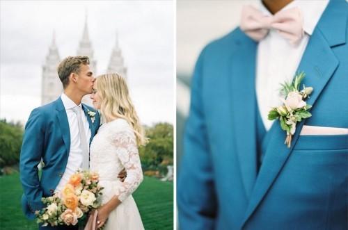 blaues outfit hochzeit feiern