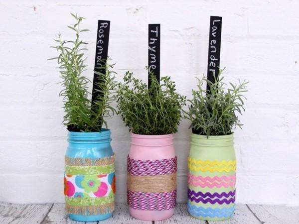einmachgläser deko pflanzenbehälter frisch bemalen