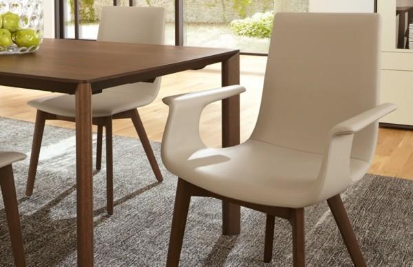 esszimmerstühle mit armlehne beige leder stilvolles design
