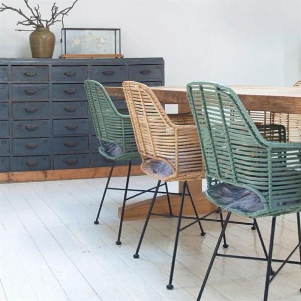 esszimmerstühle mit armlehne rattan farbig