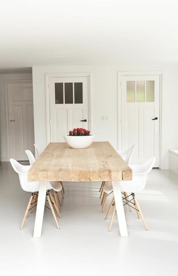 esszimmerstühle mit armlehne skandinavisches design weiß rustikaler tisch