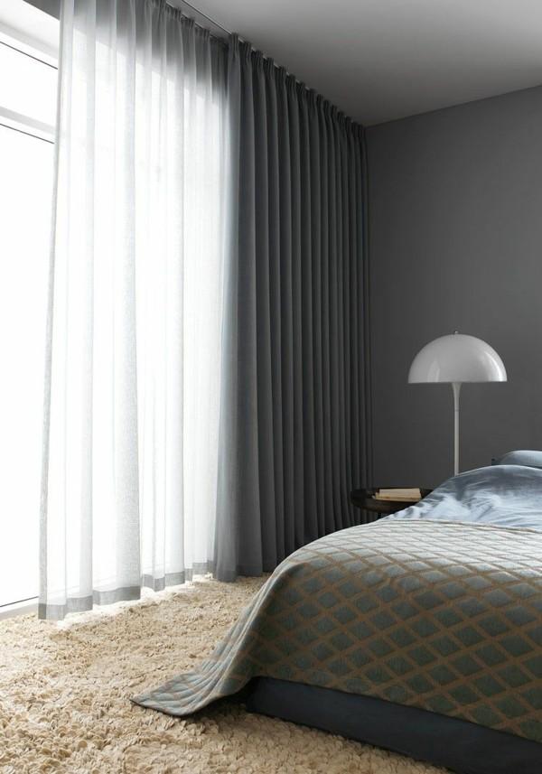 fensterverdunkelung schlafzimmer durchsichtige undurchsichtige gardinen kombinieren