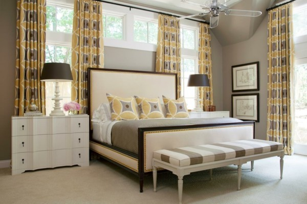 fensterverdunkelung schlafzimmer gardinen frisches muster schlafzimmerbank