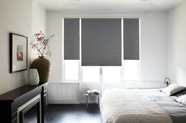 fensterverdunkelung schlafzimmer modernes design helle farben plissees