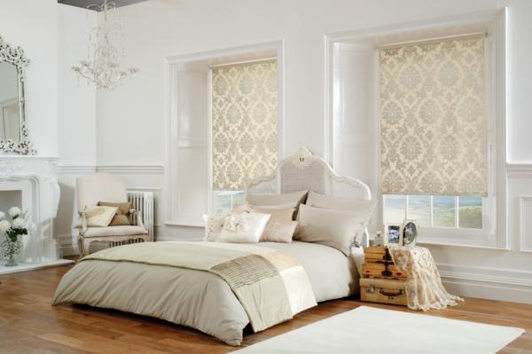 fensterverdunkelung schlafzimmer rollos helles design heller teppich
