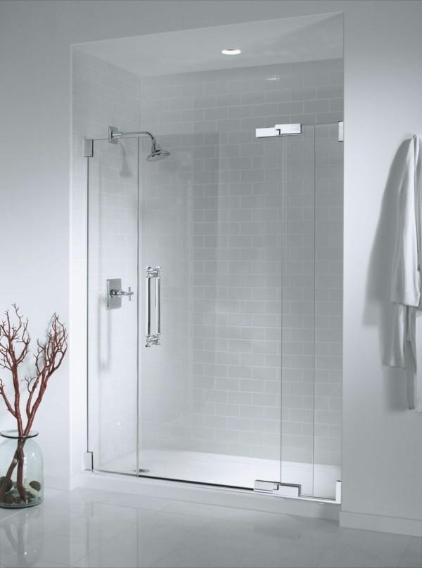 Glastüren Durchsichtig Badezimmer Weiße Badezimmerfliesen