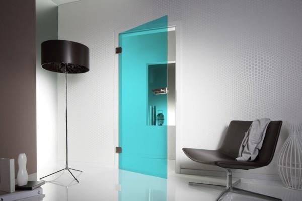 glastüren farbiges glas modern wohnen