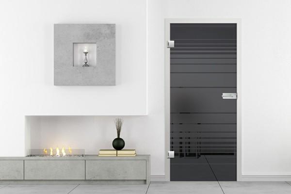 glastüren wohnbereich trennen dunkles design