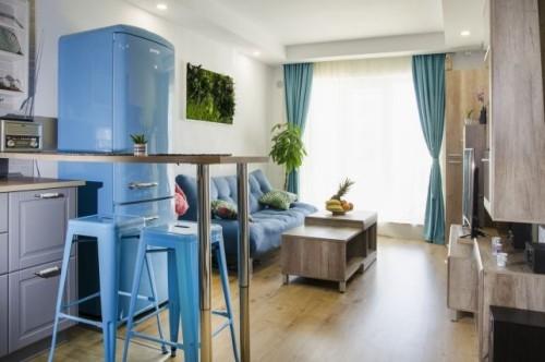 inneneinrichtung blaue küche