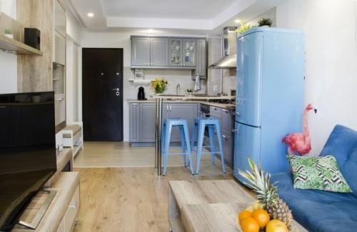 inneneinrichtung blaue kücheneinrichtung