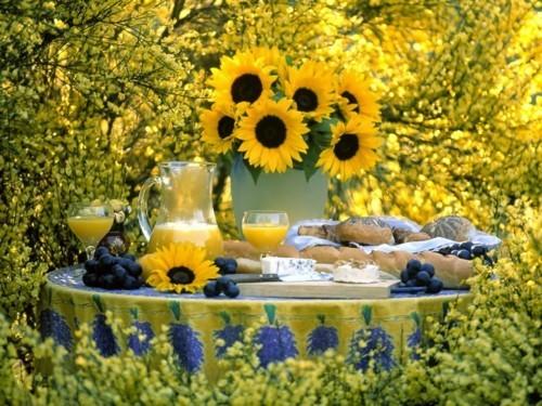 picknick ideen runder tisch mitten im wald