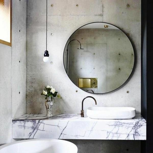 runder badspiegel ausgefallener waschtisch modernes bad ideen