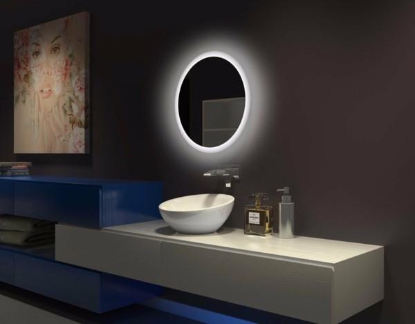 runder badspiegel ausgefallne badmöbel beleuchteter badspiegel