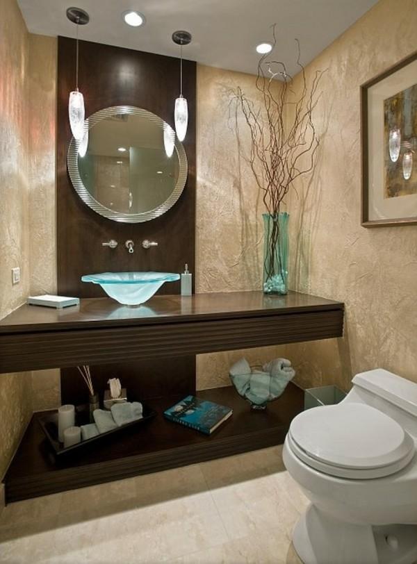runder badspiegel badezimmer braun beige