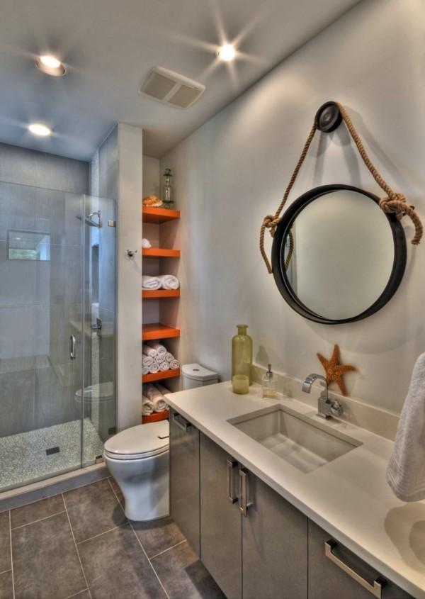 runder badspiegel gemütliches bad gestalten ideen naturfarben kombinieren