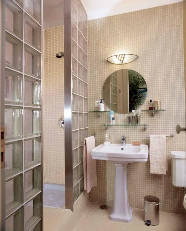 runder badspiegel gemütliches badezimmer einrichten beige