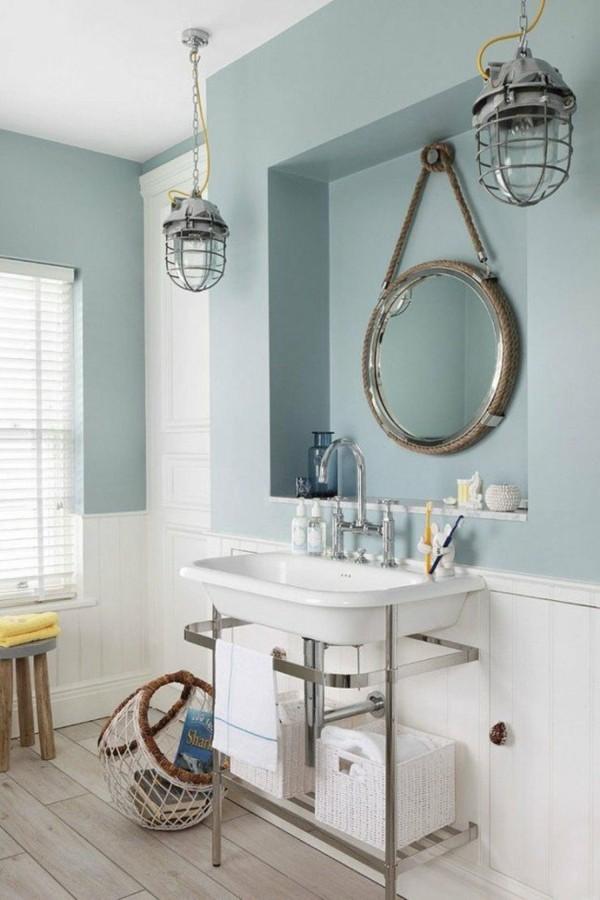 runder badspiegel hängelampen industrieller look