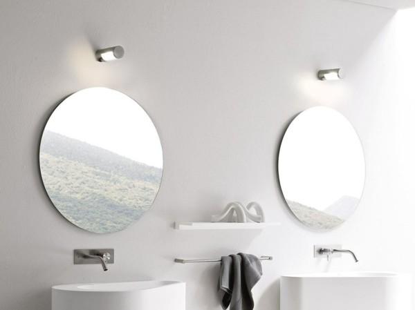 runder badspiegel luftiges raumgefühl weißes bad ideen