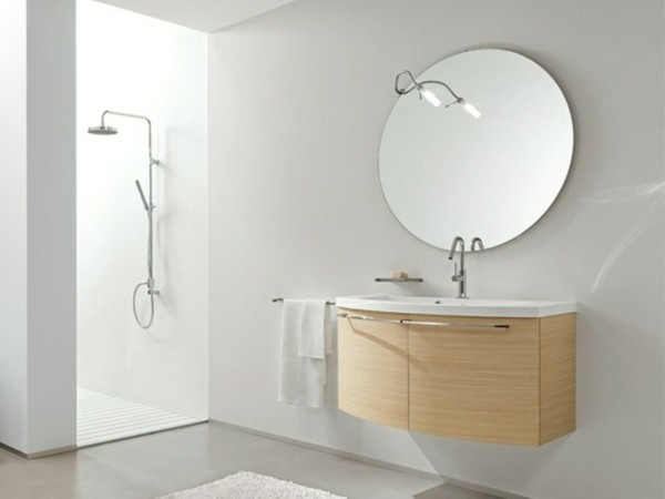 runder badspiegel modernes bad gestalten helles holz waschbeckenunterschrank