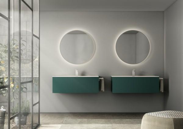 runder badspiegel modernes badezimmer gestalten neutrale farben
