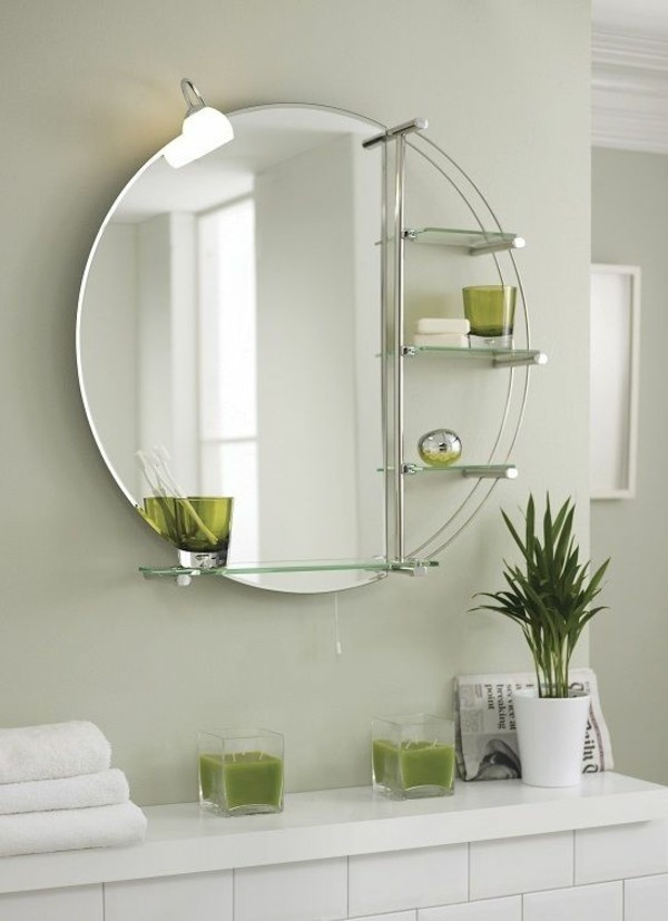 runder badspiegel modernes design stauraum hellgrüne wandfarbe