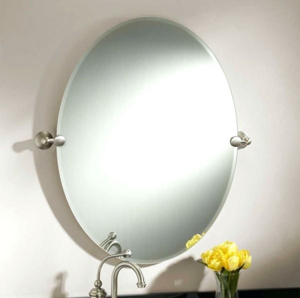 runder badspiegel rahmenlos funktional blumendeko