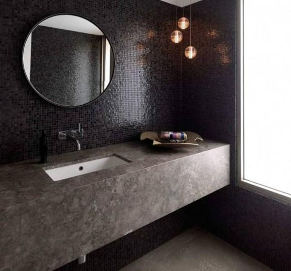 runder badspiegel schönes wanddesign dunkle farben