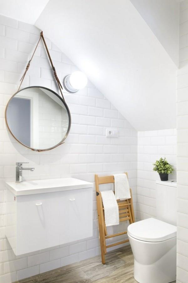 runder badspiegel weißes badezimmer stauraum ideen