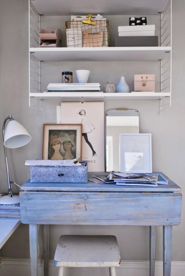 shabby chic selber machen blauer schreibtisch arbeitszimmer