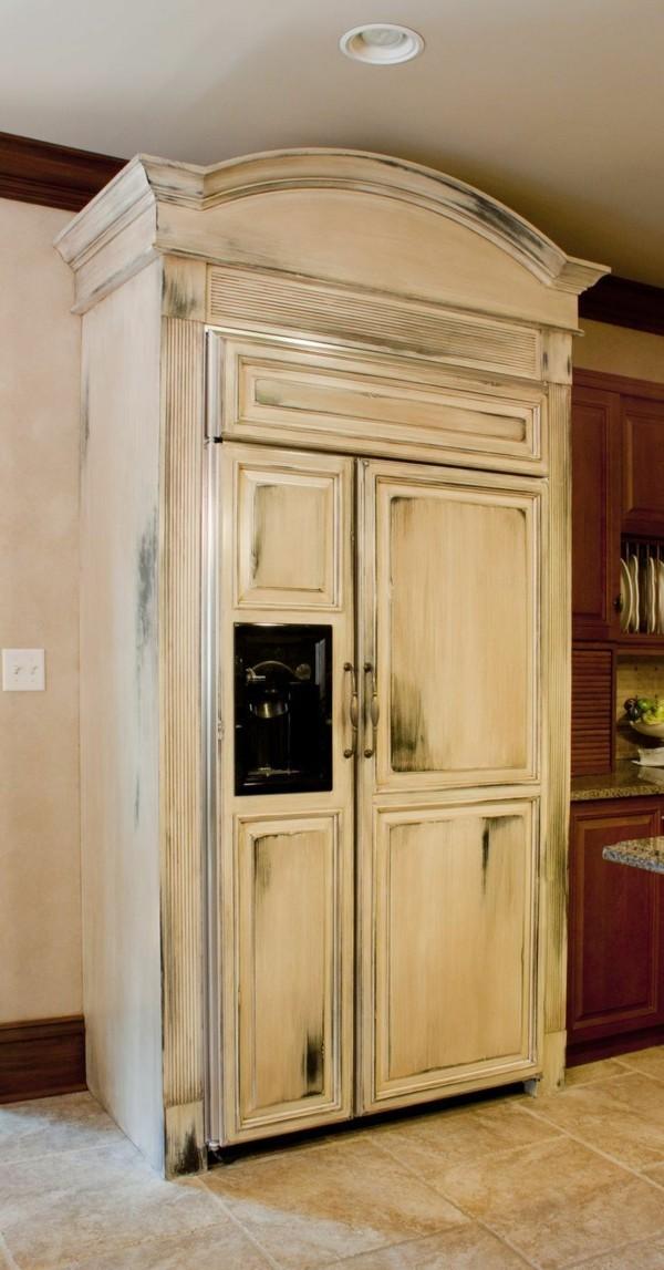 shabby chic selber machen küche einrichten ideen ausgefallener kühlschrank