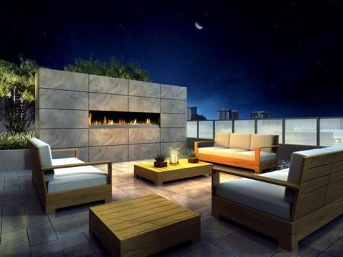 terrassenkamin holzmöbel schöne aussicht