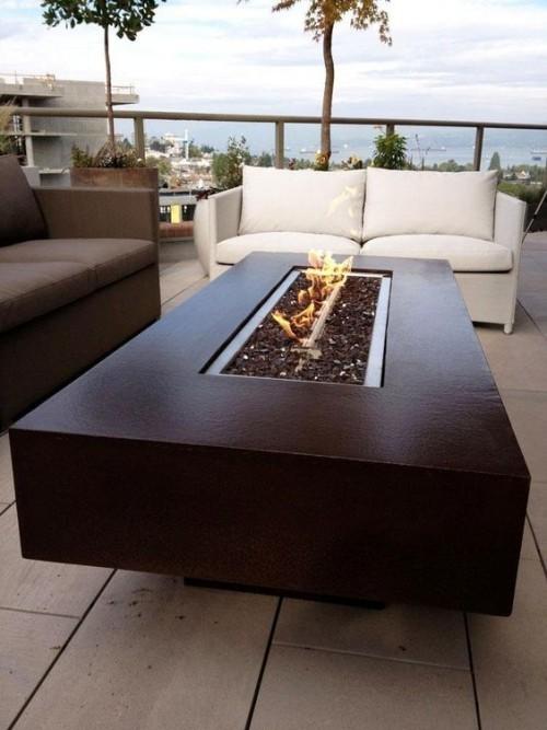 terrassenkamin moderne feuerstelle gestalten