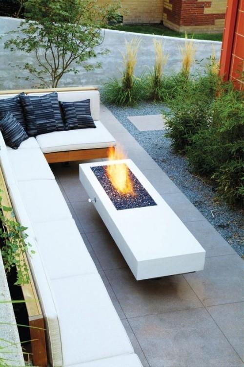 terrassenkamin moderne feuerstelle offene feuerstelle sitzgelegenheit