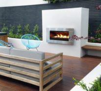 Moderner Terrassenkamin sorgt für angenehme Stunden auf der eigenen Terrasse