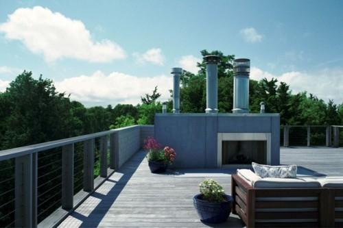 terrassenkamin moderne terrassengestaltung pflanzenbehälter dielenboden