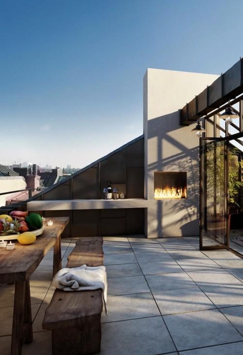 terrassenkamin moderne terrassengestaltung rustikale möbel