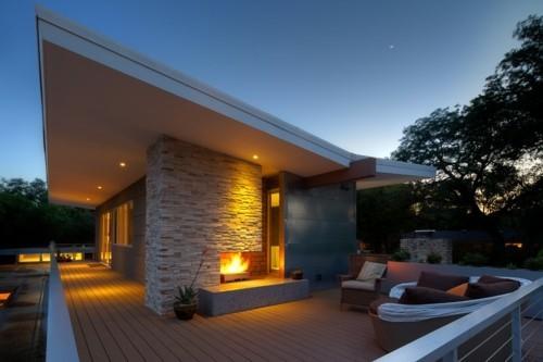 terrassenkamin modernes design offene feuerstelle