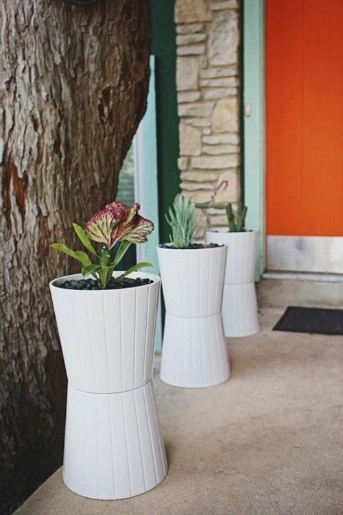 topfblumen eingang stilvolle dekoideen große pflanzenbehälter