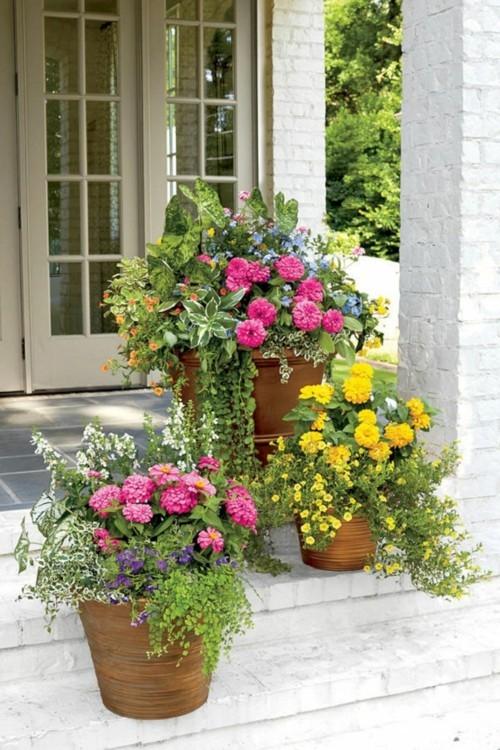 topfblumen veranda dekorieren treppen dekoideen