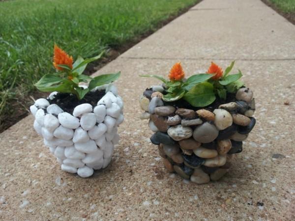 verzierung mit steinen diy pflanzer