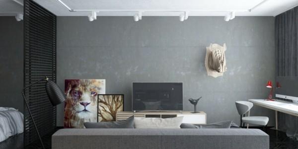 wandfarbe hellgrau attraktives wanddesign wohnzimmer