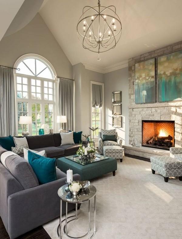 wandfarbe hellgrau elegantes wohnzimmer gestalten heller teppich blaue akzente